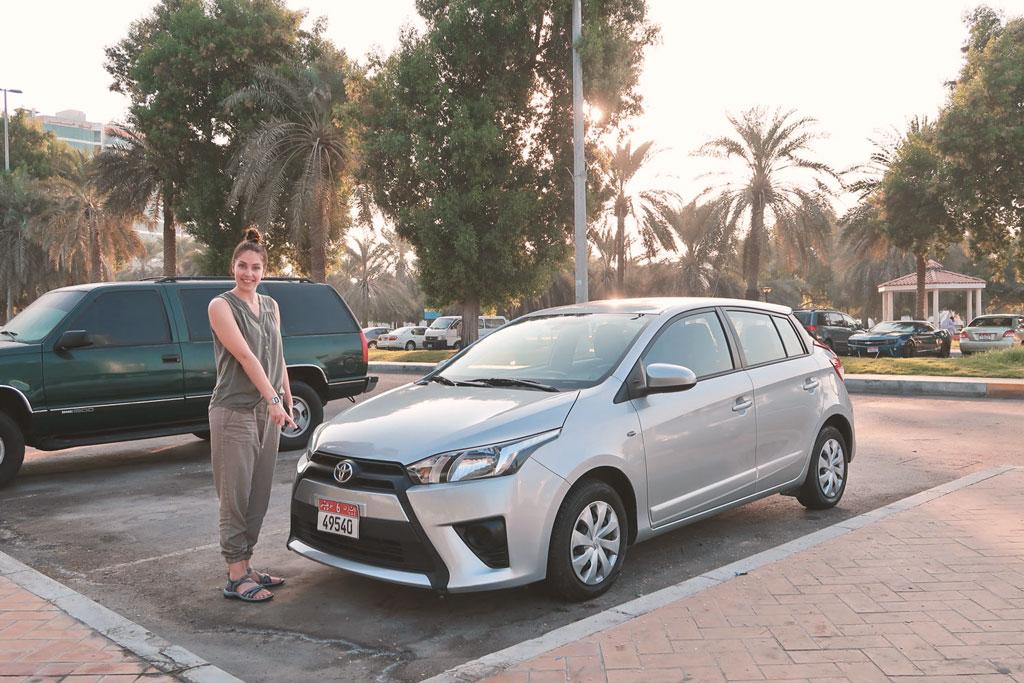 Reisetipps Dubai - Mietwagen Toyota Yaris