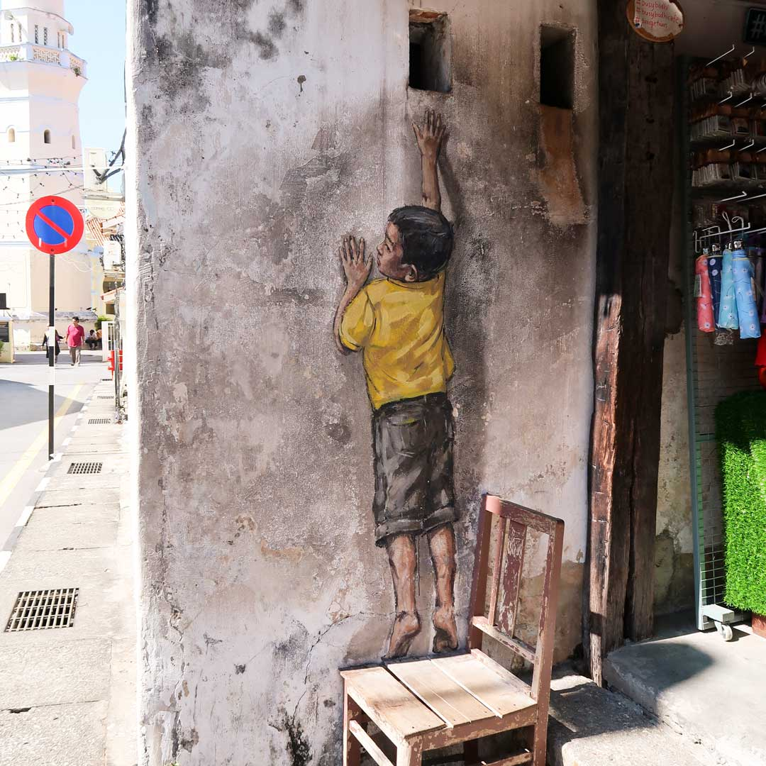 Die Streetart-Werke in Penang Malaysia regen zur Interaktion an
