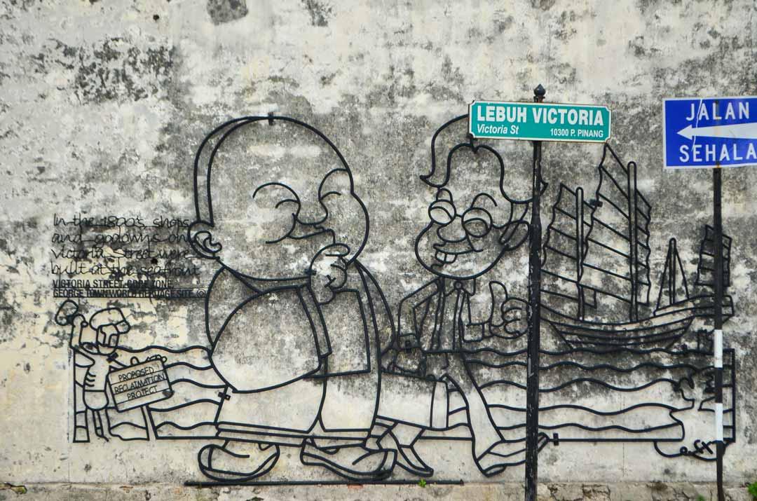 Die Streetart in Penang greift das Leben in Malaysia auf