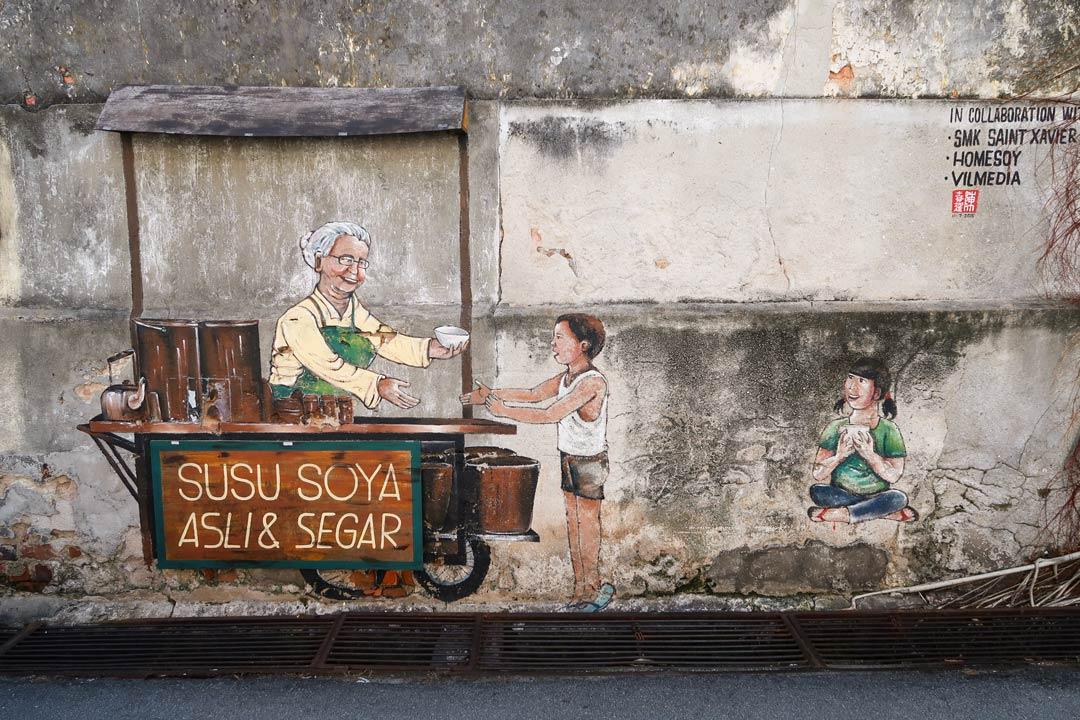 Farbenfrohe und detailreiche Streetart in den Straßen von George Town