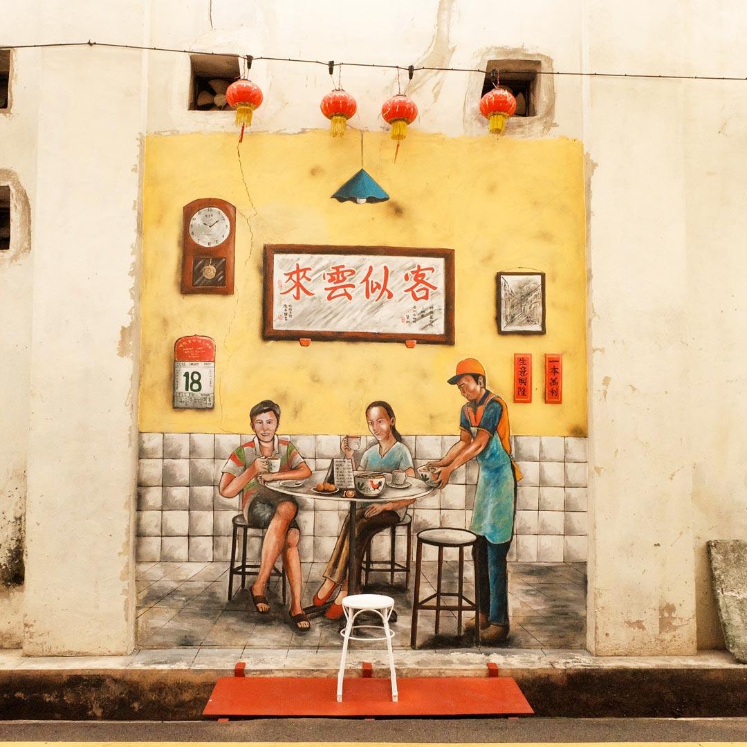 Farbenfrohe und detailreiche Streetart in Penang