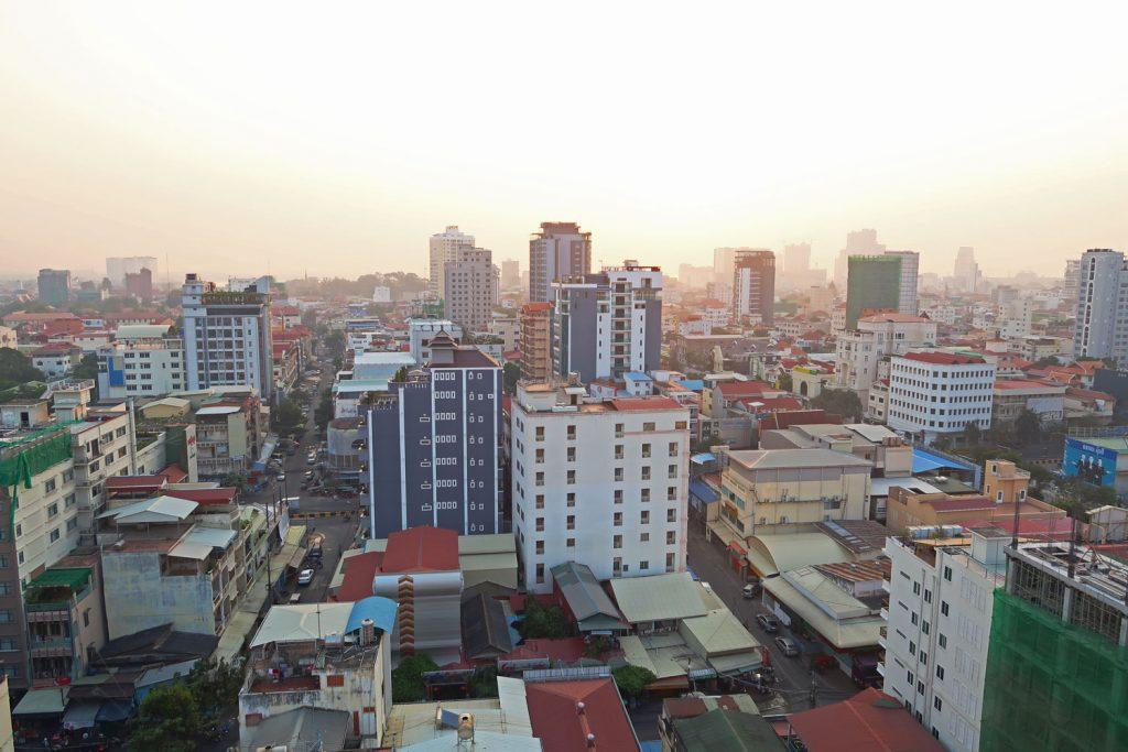Die Hauptstadt Phnom Penh aus der Vogelperspektive