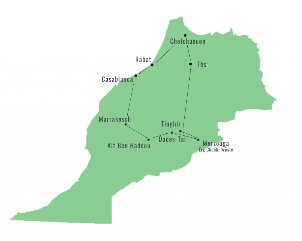 Marokko Roadtrip Route