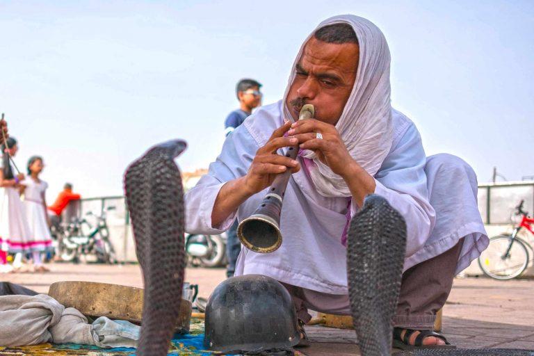 Schlangenbeschwörer auf dem Djemaa el Fna in Marrakesch