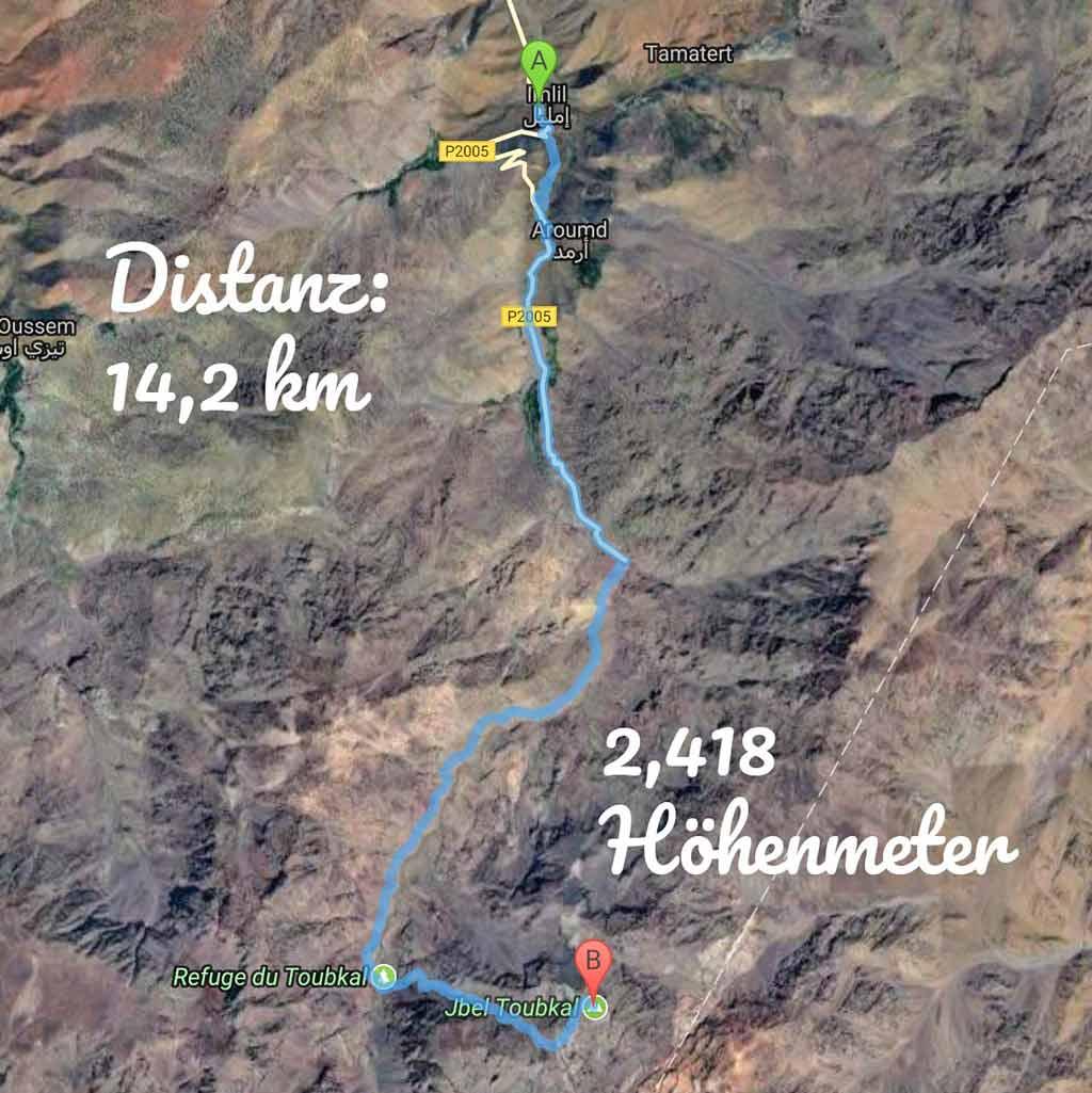 Wanderroute: Imlil - Jebel Toubkal - Wandern im Atlasgebirge - likeontravel