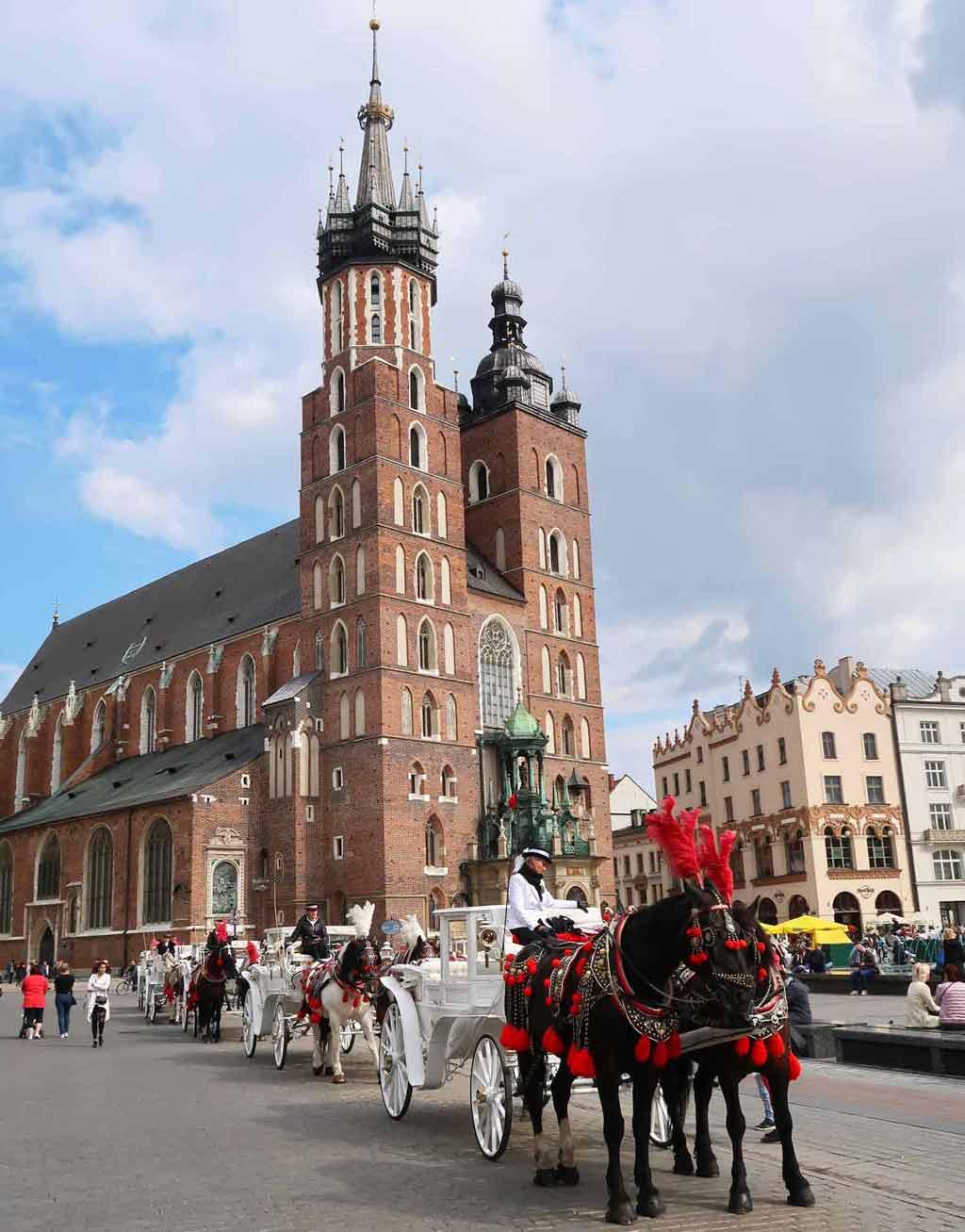 In der Krakauer Altstadt fahren Pferdekutschen vorbei an der Marienkirche, den Tuchhallen und Co. #polen #krakau #tipps #sehenswürdigkeiten