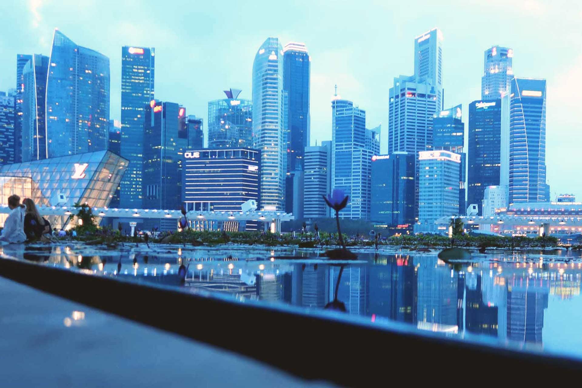 Reiseland Singapur Marina Bay Sands bei Nacht