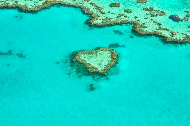 Inmitten des Great Barrier Reef befindet sich ein herzförmiges Riff