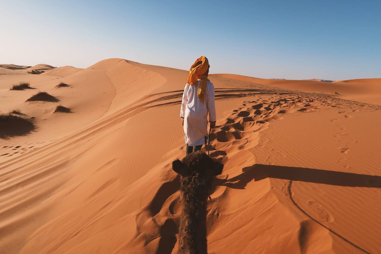 Guide führt ein Kamel durch die Sahara Wüste