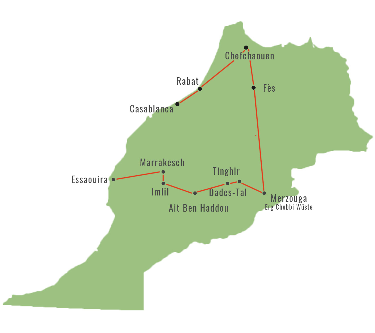 Marokko individuelle Route Roadtrip Map Karte