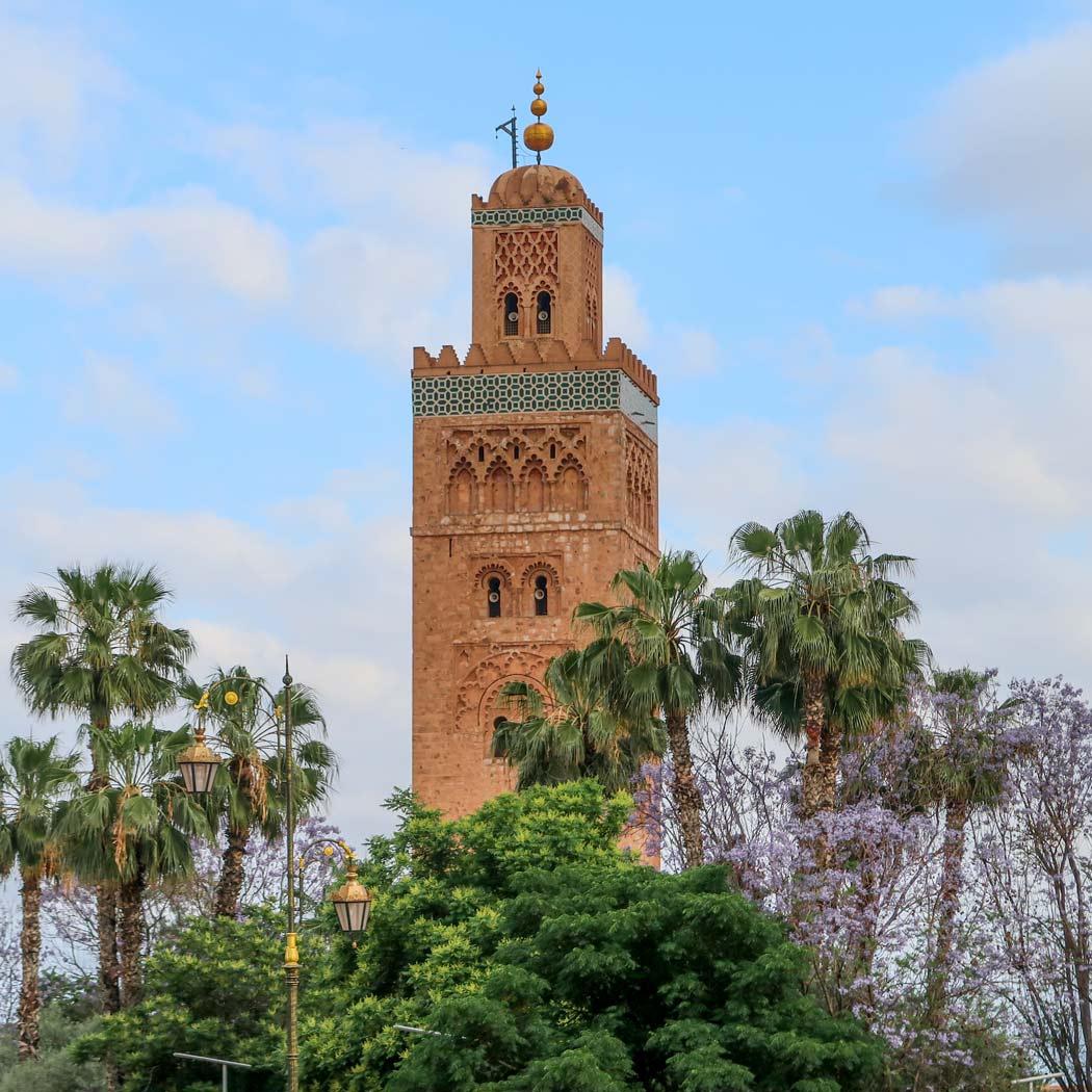 Das Minarette der Koutoubia Moschee in Marrakesch