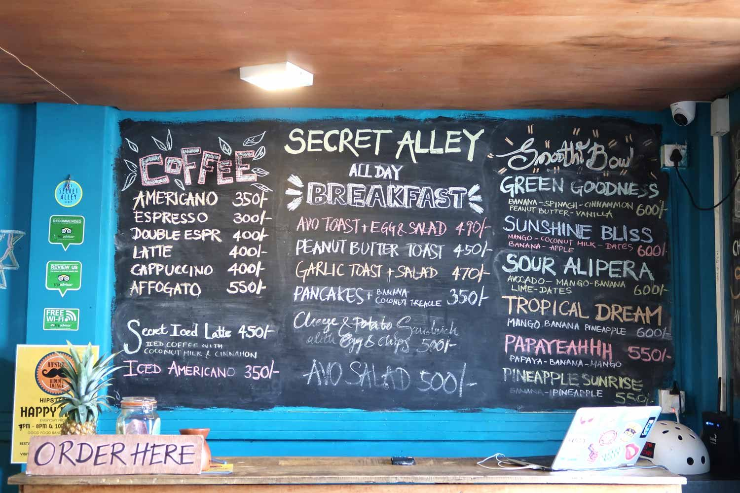 Menu Secret Alley Kandy - Speisekarte in Sri Lanka