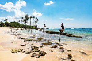 Stelzenfischer am Meer von Sri Lanka