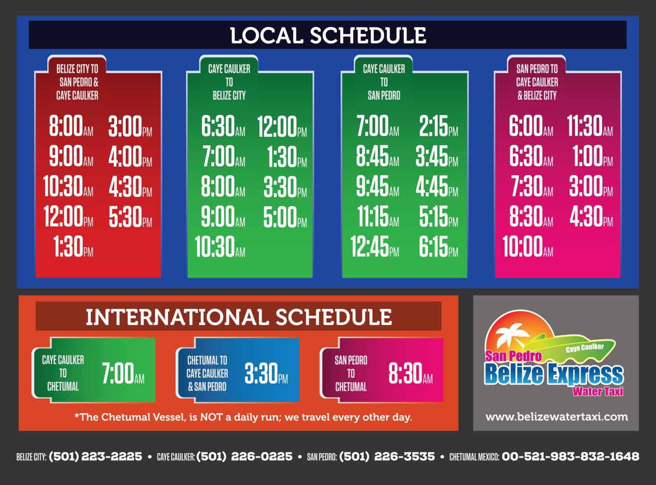 Belize Water Taxi Schedule