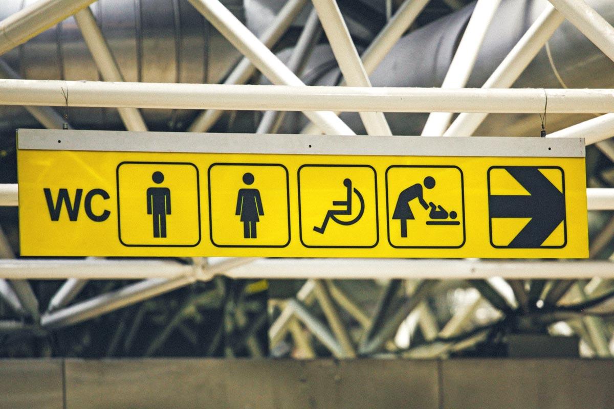 Toilettensymbole am Flughafen