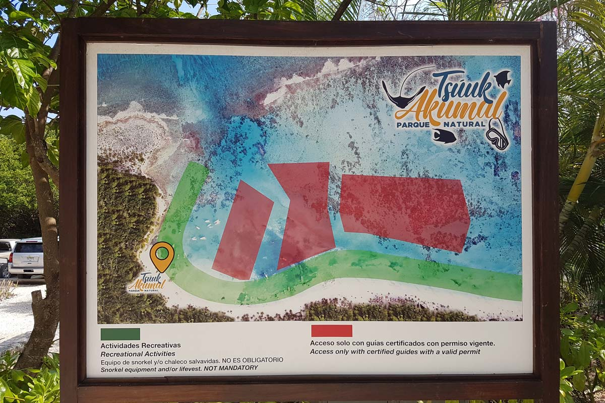 Karte von Akumal - Erlaubte Schnorchelgebiete