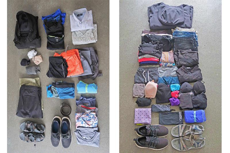 Handgepäck Kleidung für eine Weltreise