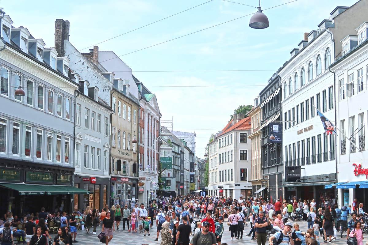 Stroget Shopping Straße in Kopenhagen