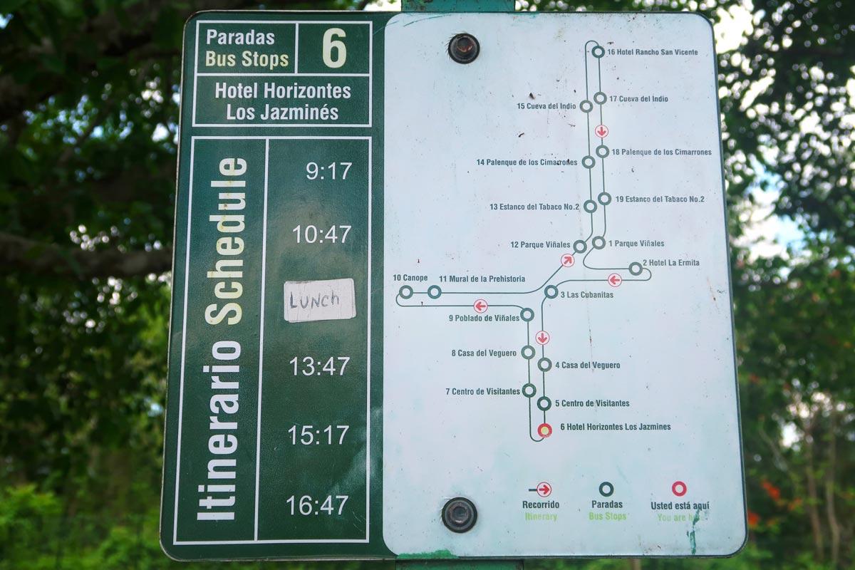 Abfahrtszeiten und Stopps der Bustour in Vinales