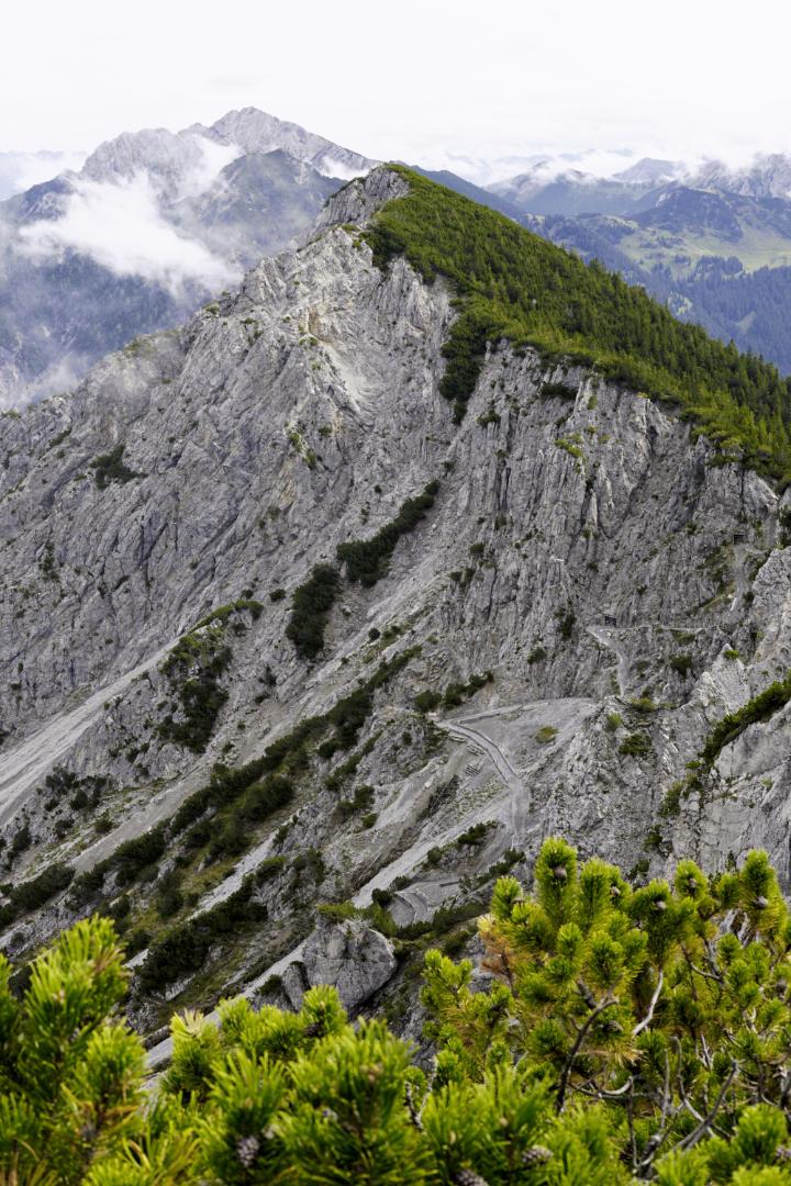 Bergkamm einseitig bewaldet